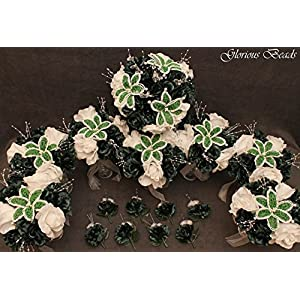 Emerald Green BEADED Flower Lily Wedding / Quincenarea Bouquet 16 PC Set with FREE Boutonnieres 96
