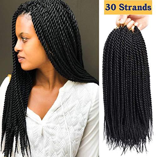 6Packs/Lot 16 inch Senagalese Twist Crochet Hair Small Havana Mambo Twist Hair Two-Strand Twists Ombre Twist Braiding Hair Synthetic Crochet Hair Extension (16inch-6Pac, 1B)