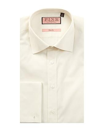 Thomas Pink Mens Slim Fit Dress Shirt, 18.5, White at Amazon Men's ...