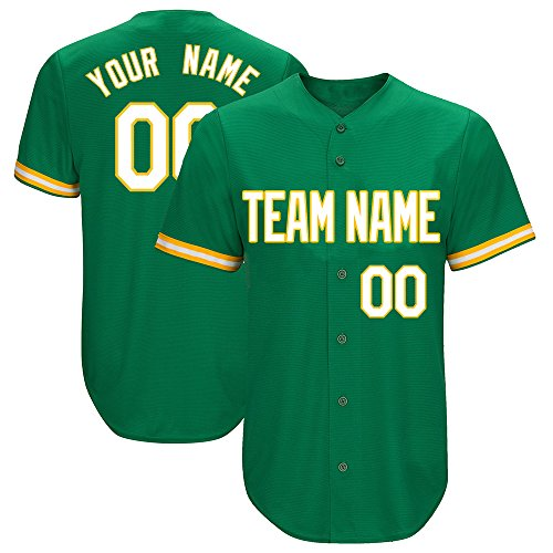 DEHUI Customized Men's Kelly Green Baseball Softball Jersey with Sewn Your Name & Numbers,White-Yellow-Stripe Size L (Best Softball Jersey Names)