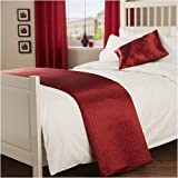 Passion Quilted Red Bed Runner - Satin Silk Look One Size