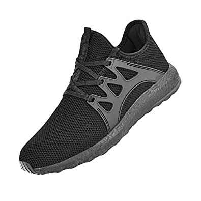 Feetmat Men's Sneakers Lightweight Breathable Mesh Gym Casual Shoes 7 D(M) US, Black