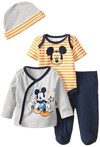 Disney Baby Boys' Mickey Mouse 4 Piece Set, Multi, 6 Months