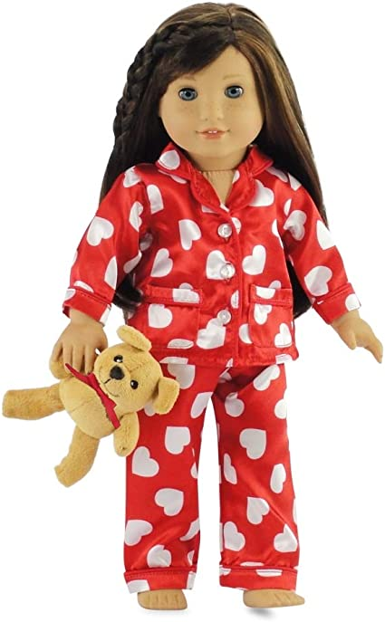 """American Girl Doll Emily PAJAMAS ONLY Flannel Fits 18/"""" PJ/'s Floral Flowers Tags"""