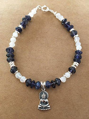 Moonstone and Iolite Gemstone Buddha Charm Bracelet ()