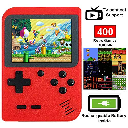 DigitCont Retro Mini Handheld Arcade, Built-in with 400 Classic Games Double Players Mode Miniature Console Handheld Portable Game Cabinet Machine Rechargeable Battery Inside Support Connect TV Red