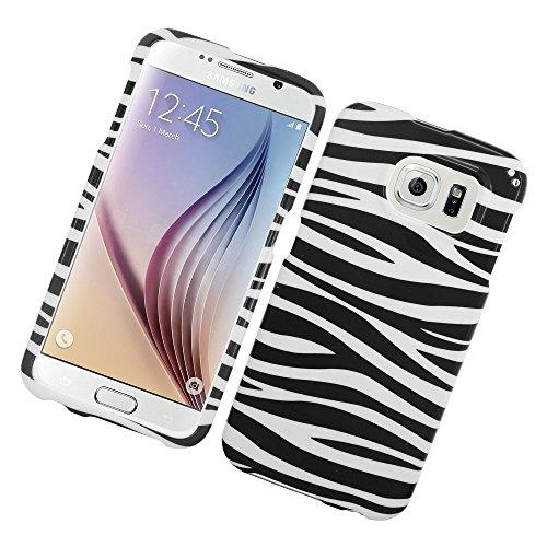 Galaxy S6 Case, Insten Zebra Rubberized Hard Snap-in Case Cover for Samsung Galaxy S6 SM-G920, Black/White