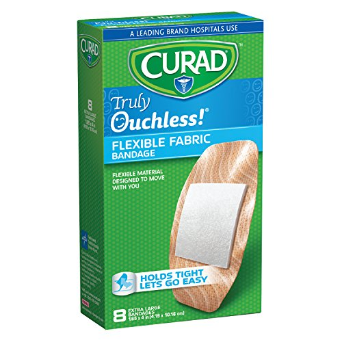 CURAD Truly Ouchless Extra Large Silicone Bandages, Flexible Fabric, 8 (Curad Flexible Fabric)