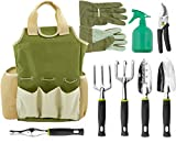 Vremi 9 Piece Garden Tool Set DetailsTransplanting SpadeSize (total length x max width): 12.8 x 3 in. Weight: 6.5 oz. Use: Transplant small plants and flowersTrowelSize: 12.6 x 2.2 in. Weight: 6.4 oz.Use: Digging or turning up soil; includes ...