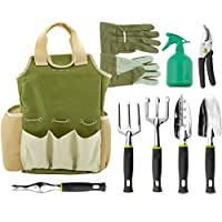 Gardening Tools with Garden Gloves and Garden Tote - Gardening Gifts Tool Set with Garden Trowel Pruners and More - Vegetable Herb Garden Hand Tools with Storage Tote
