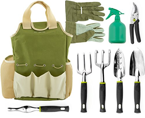 Vremi 9 Piece Garden Tools Set  Gardening Tools with Garden Gloves and Garden Tote  Gardening Gifts Tool Set with Garden Trowel Pruners and More  Vegetable Herb Garden Hand Tools with Storage Tote