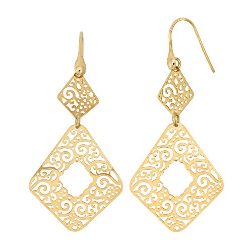 14K Yellow Gold or Rhodium Plated 925 Sterling Silver Cut Out Spiral Square Dangle Earrings 14k Yellow Gold Spiral Drop
