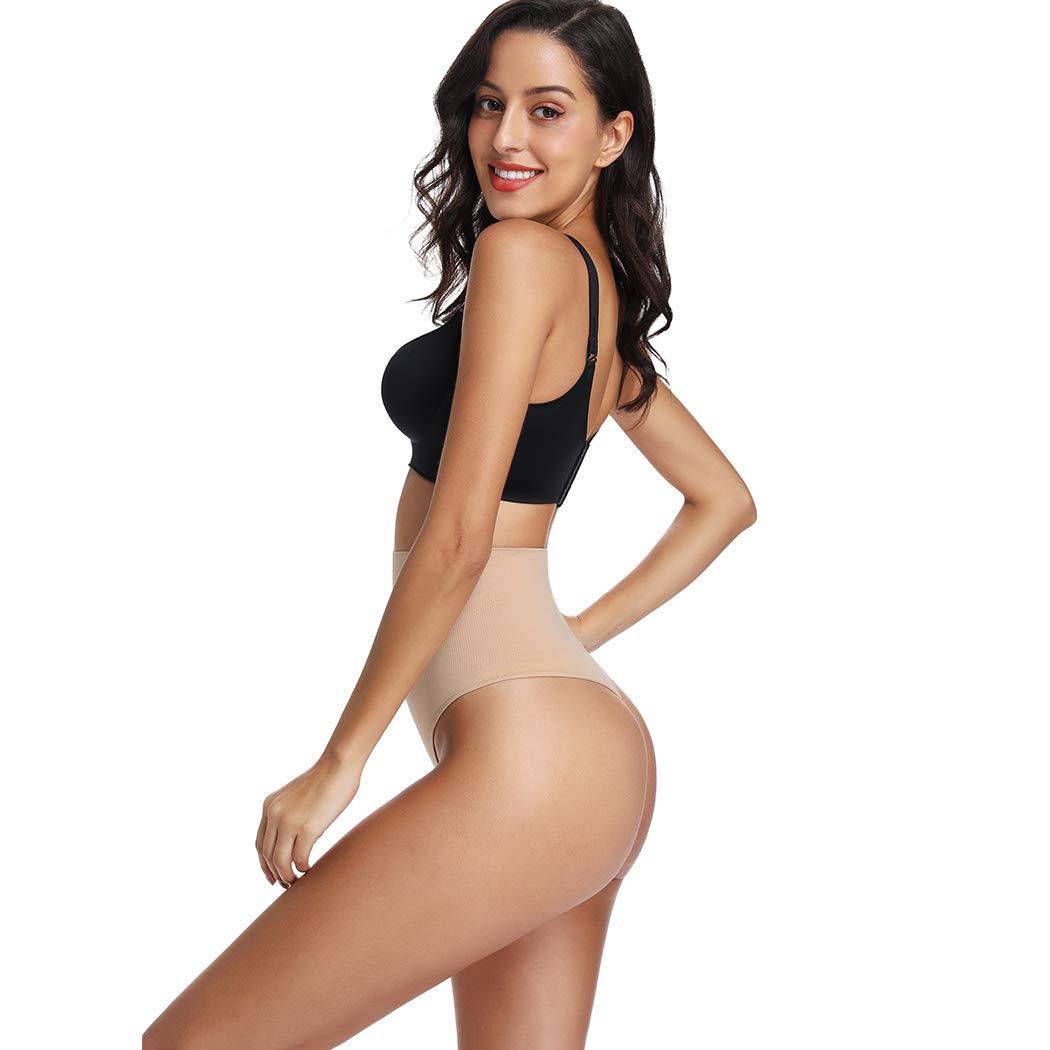 High Waist Shapewear Thong for Women Tummy Control Underwear Body Shaper Thong Waist Cincher Girdle Panties