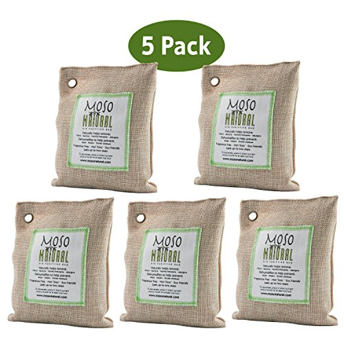 Moso Natural Air Purifying Bag. Odor Eliminator for Cars, Closets, Bathrooms and Pet Areas. Captures and Eliminates Odors. (Natural, 5 Pack)