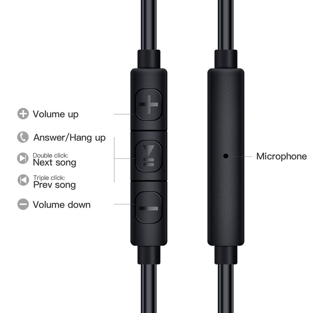 Wired Earphones, Adorer EM10 Powerful Bass in Ear Headphones with Microphone and Volume Control, Noise Isolating Earbuds - Black