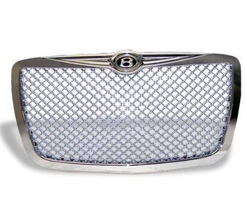 Grille Fits 2004-2010 Chrysler 300 | Mesh Style ABS Chrome Front Bumper Hood Grill Protector by IKON ()