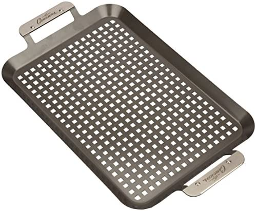 Grill Topper BBQ Grilling Pans Set of 2 – Non-Stick Barbecue Trays w Stainless Steel Handles for Meat, Vegetables, and Seafood