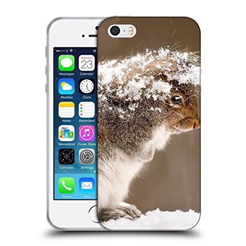 Just Phone Cases Coque de Protection TPU Silicone Case pour // V00004160 écureuil cache chute de neige // Apple iPhone 5 5S 5G SE