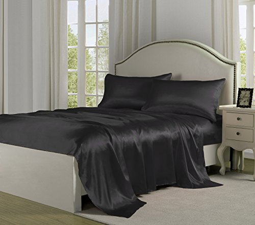 Price comparison product image Belles & Whistles Satin Charmeuse Sheet Set, Queen, Black