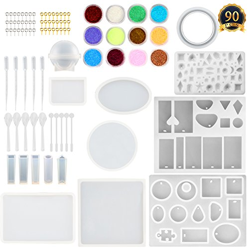 SUBANG 15 Pack Jewelry Casting Molds Silicone Resin Jewelry Molds with 48 Screw Eye Pins, 5 Plastic Stirrers, 5 Plastic Spoons, 5 Plastic Droppers and 1 Glitter Powder Sequins by SUBANG