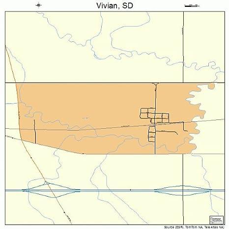 Amazon.com: Large Street & Road Map of Vivian, South Dakota SD ... on