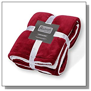 Pembrook Fleece Throw Blanket ? Dark Red ? Super Soft and Warm Reversible Plush Coral Micro Fleece and Sherpa Shearling Lining ? Sizes 51 X 63 inches ? Great for Couch, Bed, Sofa, loveseat