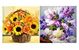 JETTINGBUY Lavender + Sunflower Diamond Painting DIY Kit, DIY 5D Diamond Painting, Rhinestone Painting Craft Supply for Art Craft DIY Home Decoration (Without Frame)