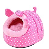 Winterworm Cute Cartoon Soft Warm Short Plush Washable and Detachable Animal Shape Pet Dog Bed House kennel With Pad (Pink Pig, L)