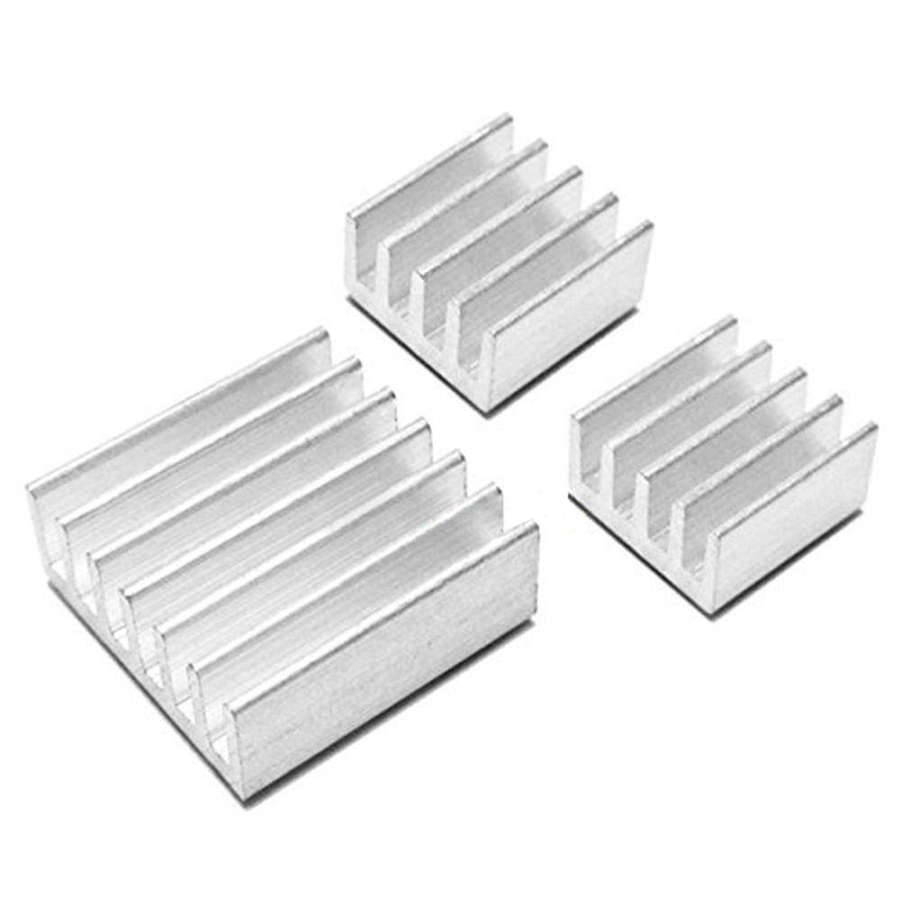 SODIAL(R) 3PCS/set Aluminum Heatsink Cooler Adhesive Kit for Cooling Raspberry Pi