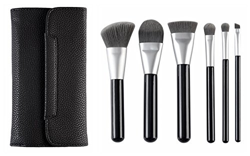CLOTHOBEAUTY Deluxe Charcoal Fiber Cosmetics Brush set, 6 Pcs Brushes with Brush Pouch,Foundation Blending/Powder/Blush/Contour/Concealers Eye Shadows Makeup Brush kits set by CLOTHOBEAUTY