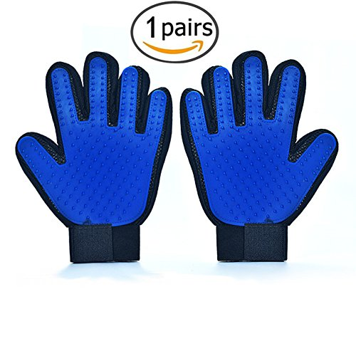 Pet Grooming Glove, Dog and Cat Deshedding Brush Glove Efficient Pet Hair Remover Mitt Massage Tool with Enhanced Five Finger Design, Perfect for Rabbits, Horses, Long, Medium and Short Pet Hair fur