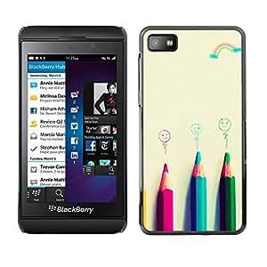 MOBMART Carcasa Funda Case Cover Armor Shell PARA Blackberry Z10 - Four Colored Pencil Crayons