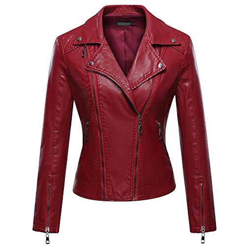 iBaste Veste de mode pour femme, capuche de moto en cuir avec fermeture  glissire et boutons Rouge