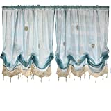 Cheap FADFAY Pastoral 57-Inch-by-69-Inch Adjustable Balloon Manual Hook Flower Shade Curtains,Light Blue