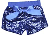 Cromoncent 3 Pack Girls Sports Elastic Waist Sequins Bowknot Shorts Jewelry Blue 5T