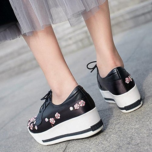 Apricot Spring Ladies Black Womens Heels up Embroidered High Black Pink Shoes GAOLIXIA Wedges Leather Shoes Lace Platform g5Ywgq