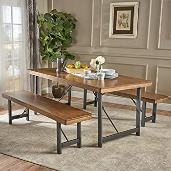 Table With Bench Set For Kitchen Amazon zinus farmhouse dining table with two benches 3 piece blane farmhouse cottage 3 piece natural walnut finished rubberwood table and bench set workwithnaturefo