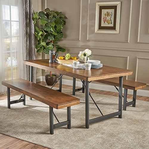 Christopher Knight Home Blane Farmhouse Cottage 3 Piece Rubberwood Table and Bench Set, Natural Walnut Textured Black