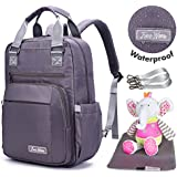 ON SALE Lucky Grey. 3-IN-1 Travel Diaper Backpack Baby Bag Waterproof W/ Infant Changing Pad, Wipe Pocket & Stroller Straps. Carry-All Bag for Baby Boy and Baby Girl