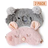 Cute Sleep Mask - Soft and Comfortable Animal Plush Blindfold Eye Cover for Kids Girls Women, Great Eyeshade for Travel, Shift Work, Meditation, Washable (Grey Koala+Pink Rabbit)