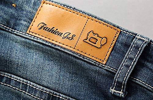 Strappati Da Cher Casual E Holes Slim Di Uomo Marca Stretch Pantaloni Blau Fit Maschili Jeans Mode Denim gOxZ4
