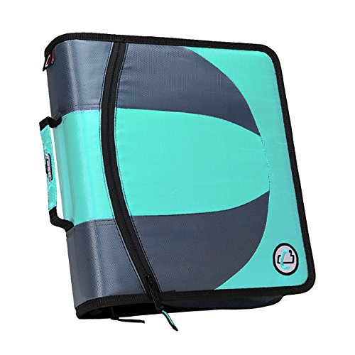 (Case-it Dual 2-in-1 Zipper D-Ring Binder, 2 Sets of 1.5-Inch Rings with Pencil Pouch, Mint, DUAL-101-MNT)