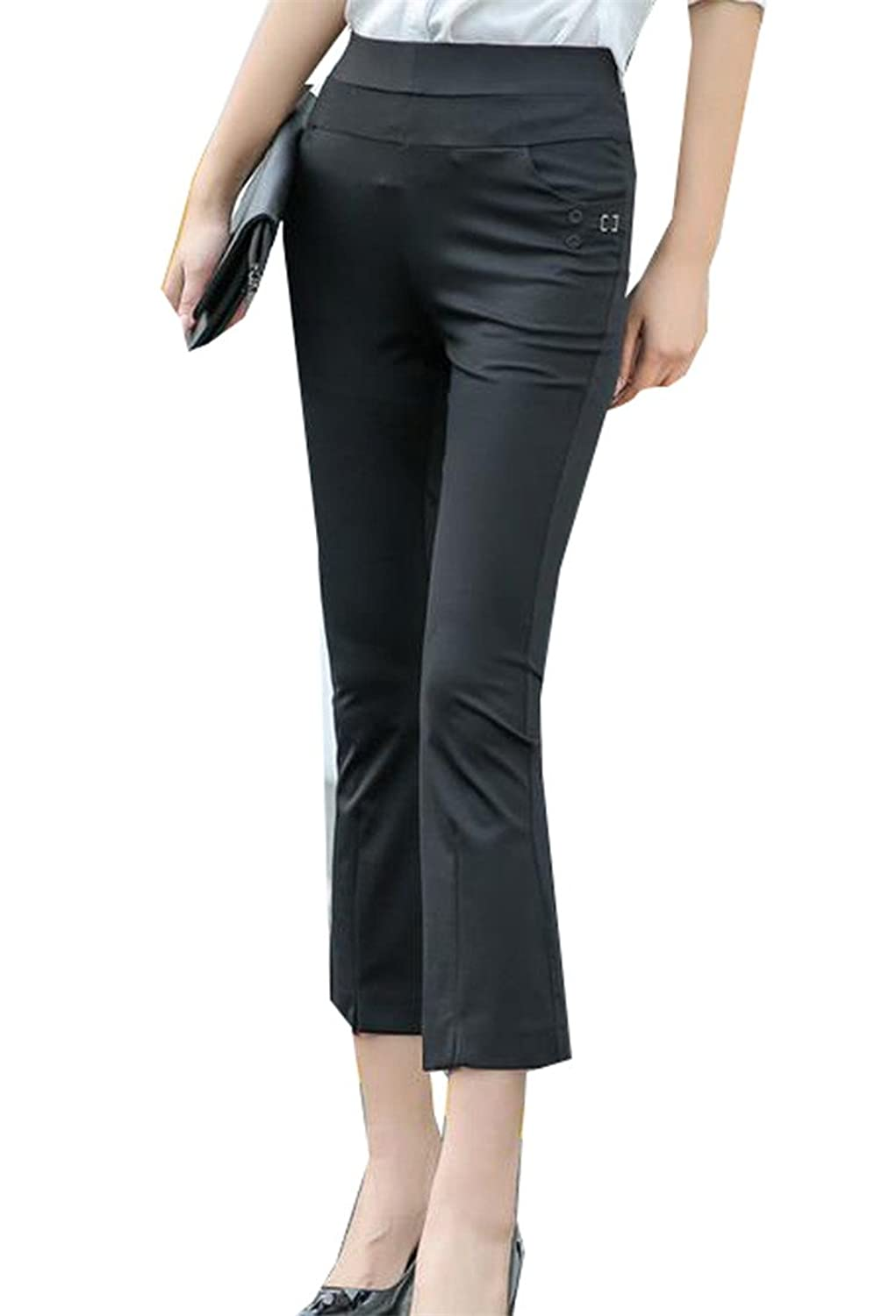 Cruiize Women's Casual Slim Fit Flare High Waist Ankle Length Pants