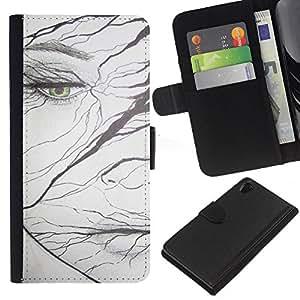 A-type (Emo Girl Bird Hair Drawing Deep) Colorida Impresión Funda Cuero Monedero Caja Bolsa Cubierta Caja Piel Card Slots Para Sony Xperia Z2 D6502