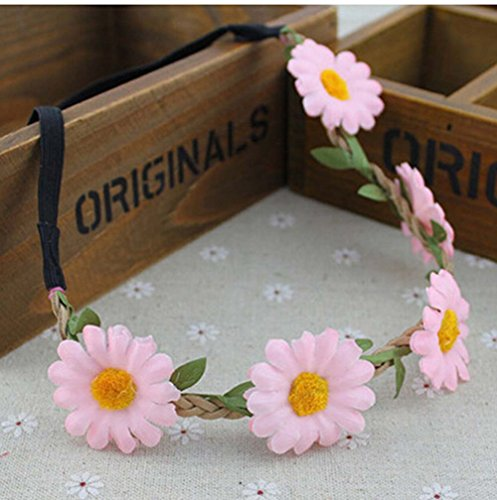 Boho Women Girl Floral Flower Bridal Festival Wedding Elastic Hair Band Headband(Pink)