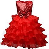 FACOCO Multi-Layered Pettiskirt Flower Girl Dress Sequined Princess Dress Bow Dress(Red 110cm(3 Years)