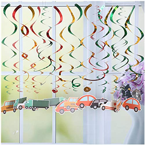 (30pcs Birthday Party Decoration Kids Car Spiral Pendant Foil Spiral Swirls Banner Bunting Garland Streamer Baby Shower)