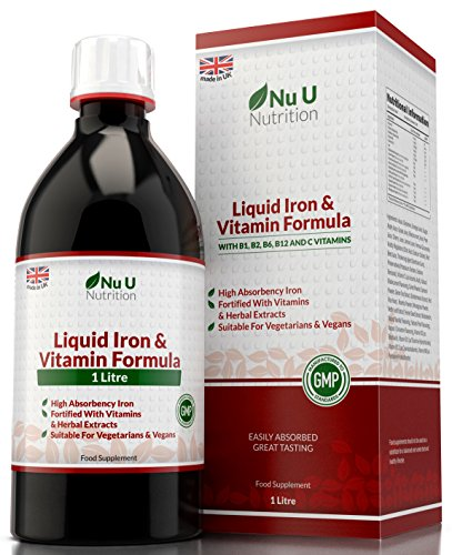 Liquid Iron Supplement 1 Litre 50 Days Supply Fortified with Vitamins and...