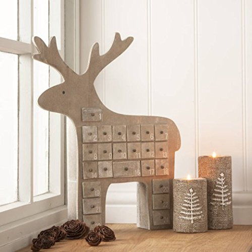 Gisela Graham Natural Wooden Reindeer advent Calendar 40cm