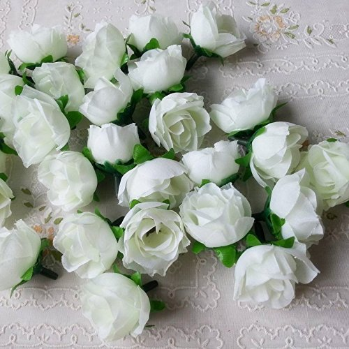 Artificial Silk Rose Head Colorfulife 3cm Simulation Flower Bud Wedding Home Party Decor DIY Hair Clip Decorative (100, White) (Blue Hait)